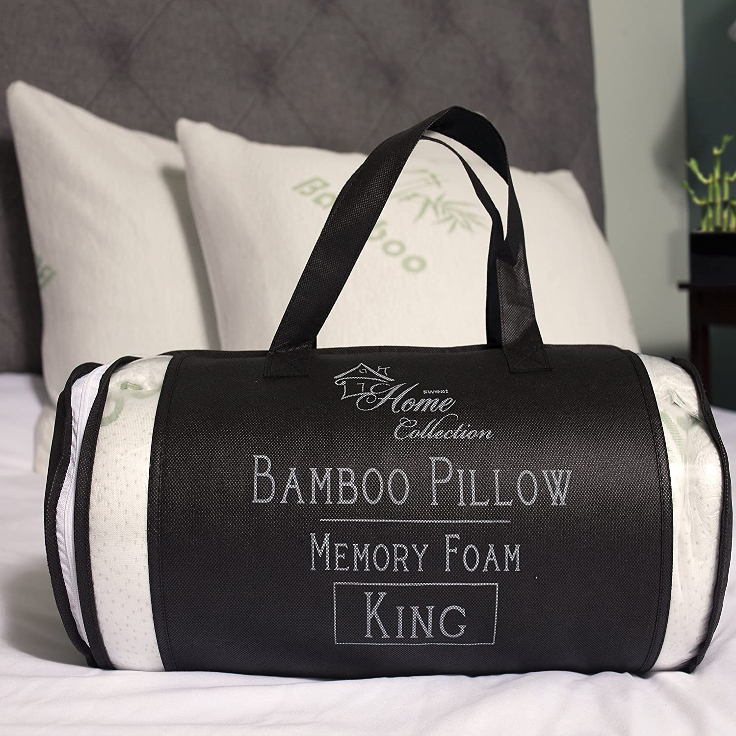 Sweet Home  Hypoallergenic Bamboo Memory Foam Pillow King with Carry Bag