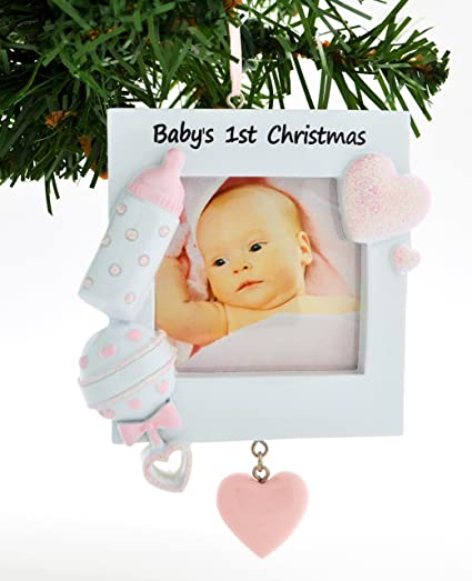 personalized christmas ornament kit pink babys 1st christmas picture frame kit