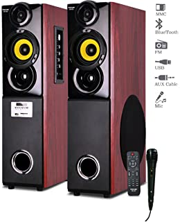 Truvison SE-222 2.0 Multimedia Speaker System with USB Bluetooth FM AUX MMC Mic Superior Sound Clarity at amazon
