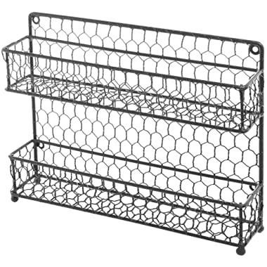 Country Style Black Dual Tier Wire Kitchen Counter-top or Wall Mount Spice Rack Jars Storage Organizer