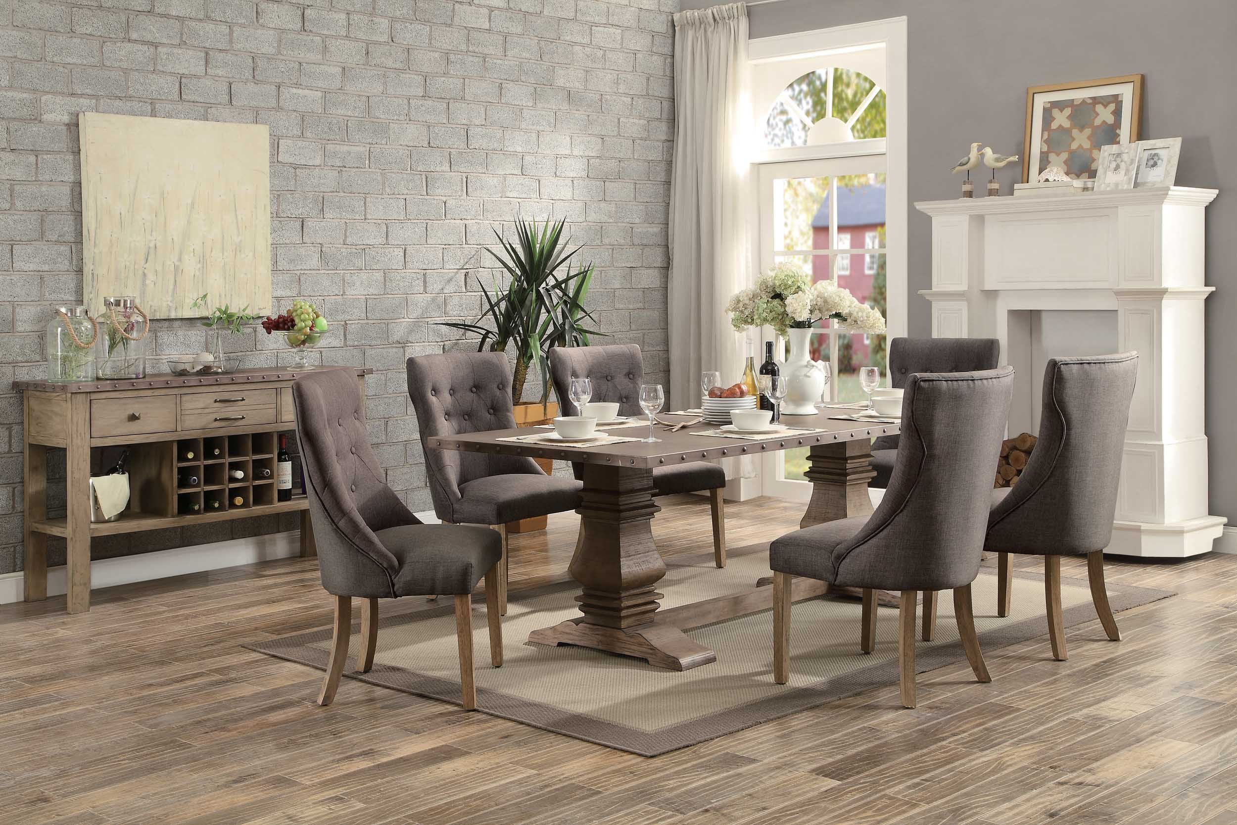 Homelegance Anna Claire 7-Piece Dining Set 84-inch Zinc Top Dining Table and 6 Button Tufted Wingback Chairs by Homelegance (Image #2)