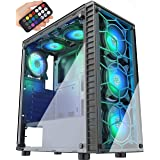 MUSETEX Phantom Black ATX Mid-Tower Case with USB 3.0 and 6 ×120mm ARGB Fans, Tempered Glass Panels Gaming PC Case Computer C