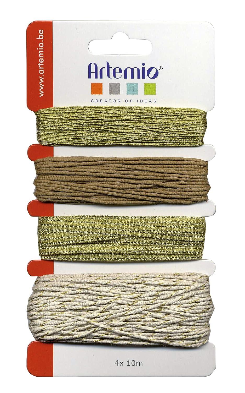 Artemio–Set di 4Spago decorativa, Sintetico, Oro, 10x 1x 16,5cm 11060297