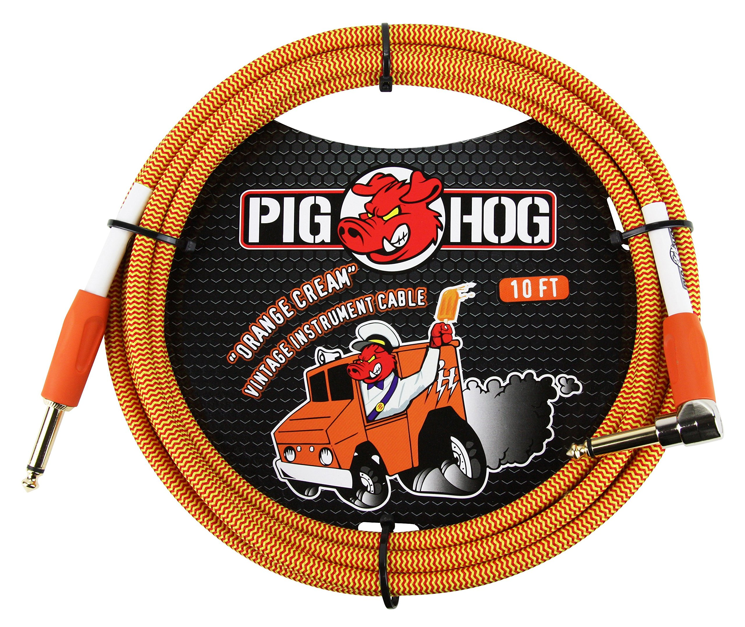 Pig Hog PCH10CCR 1/4 Straight to 1/4 Right-Angle Orange Cream Guitar Instrument Cable, 10 feet