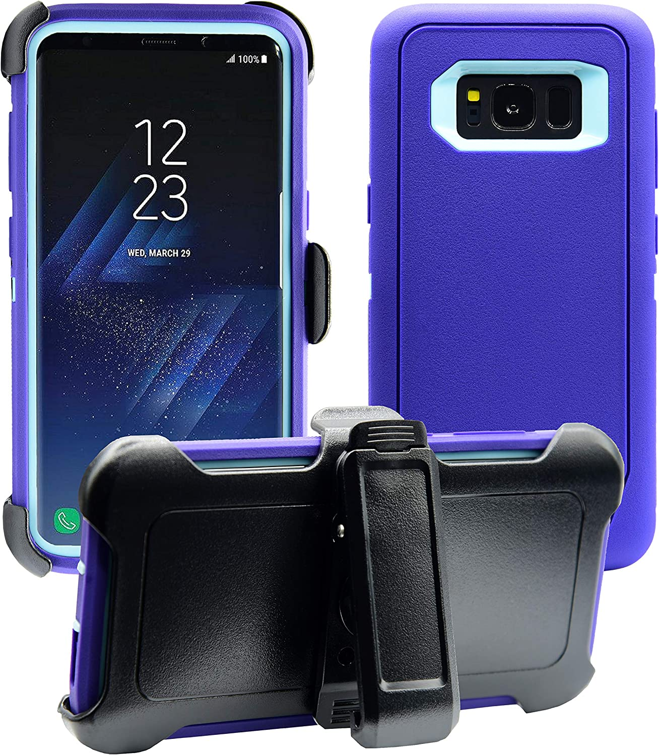 AlphaCell Cover Compatible with Samsung Galaxy S8 | Holster Case Series | Military Grade Protection with Carrying Belt Clip | Protective Drop-Proof Shock-Proof | Purple/Teal