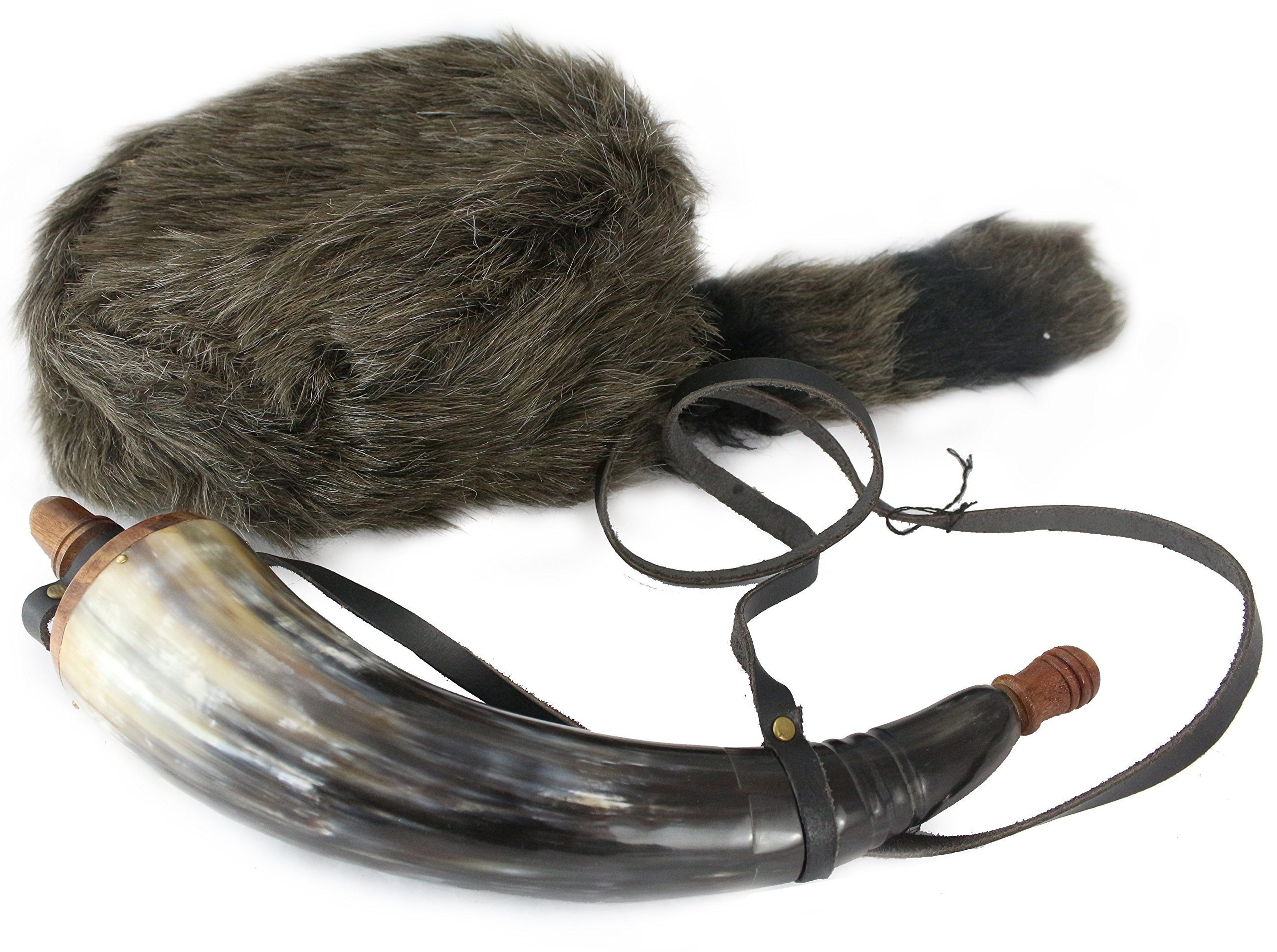 Well Pack Box Davy Crockett Raccoon Tail Hat Daniel Boone Soft Fake Fur and Powder Horn Prop Costume Great for Halloween and Costume Parties
