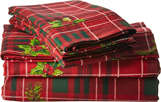 TRIBECA LIVING VIPL230DPSSTW Vintage Plaid Printed 230-GSM Flannel Twill 24 inch Extra Deep Pocket Sheet Set with Oversize Flat Twin Marwah Corporation