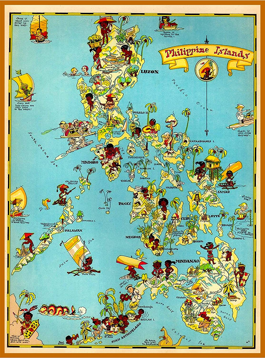 A SLICE IN TIME 1940s Map of The The Philippines Vintage Travel Home Collectible Wall Decor Advertisement Art Poster Print. 10 x 13.5 inches