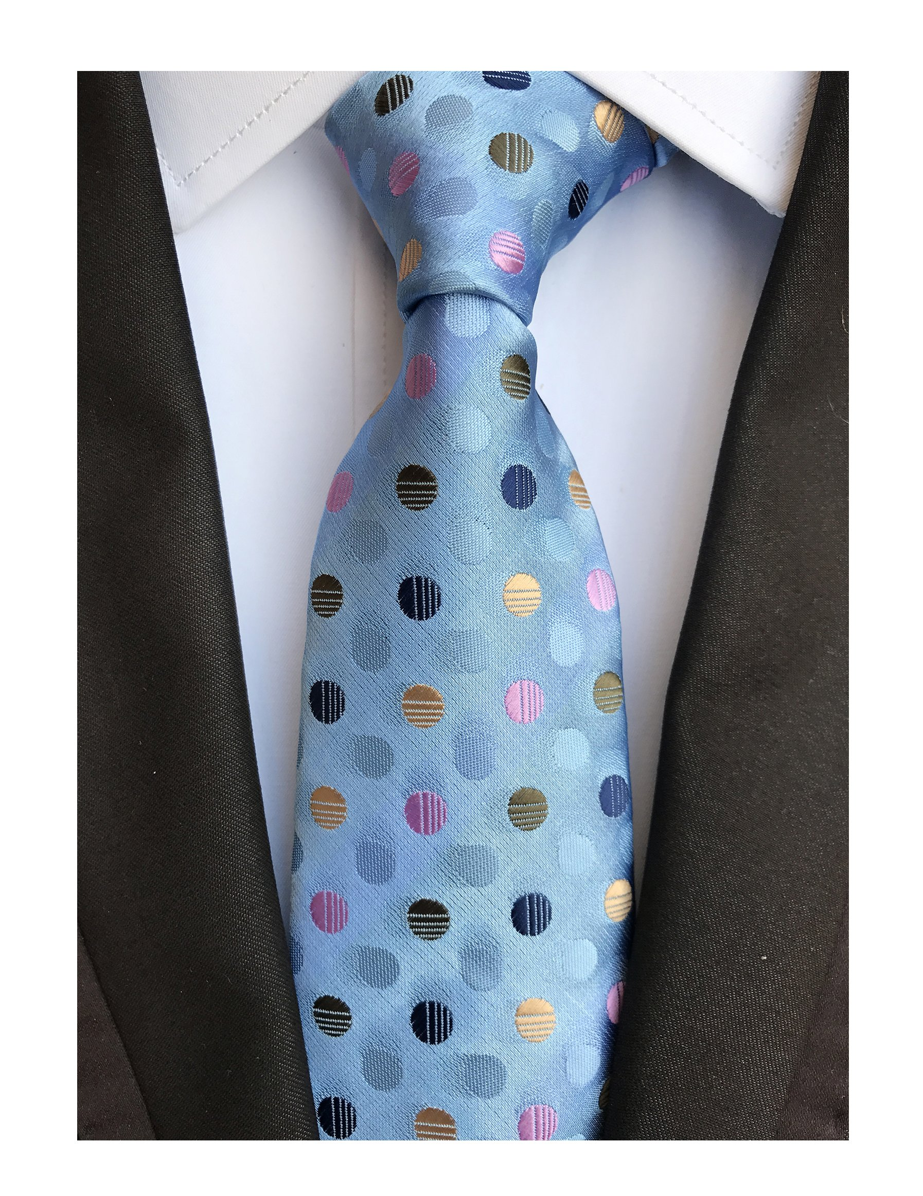 Men's Repp Colorful Fine Polka Dot Silm Silk Tie Jacquard Woven Working Neckties