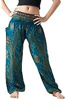 Bangkokpants Women's Yoga Pants Boho Peacock Design One Size Fits