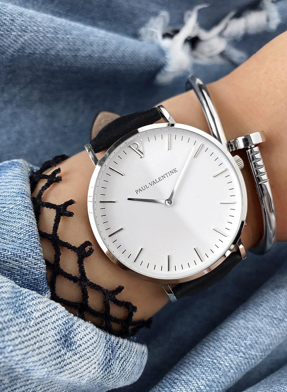 Paul Valentine Reloj de pulsera | Marina Plata Black | Mujer & Reloj de hombre con elegante diseño & atemporal y cinta de piel pulsera: Amazon.es: Relojes