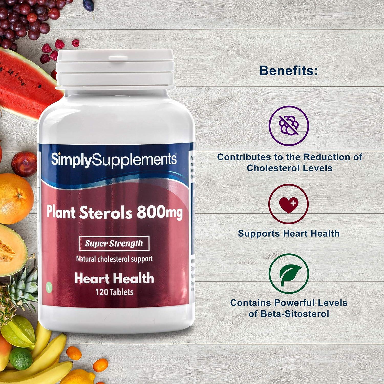 Esteroles vegetales 800mg - 120 comprimidos - Hasta 4 meses de suministro - Ayuda a reducir los niveles de colesterol - SimplySupplements: Amazon.es: Salud ...