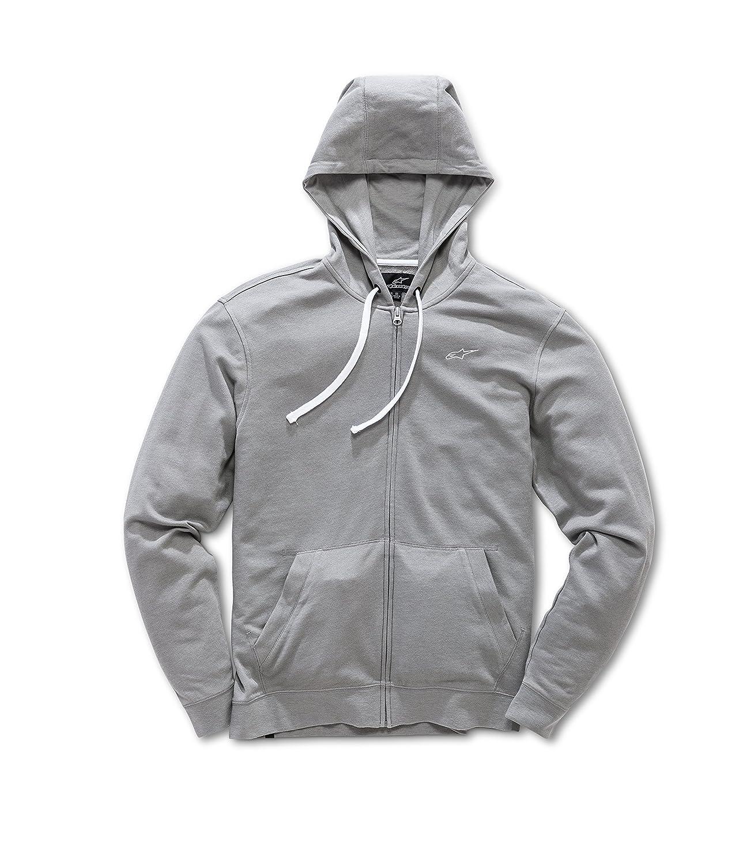 Bona Fide Grey XLarge Alpinestars Mens Full Zip Hooded Sweatshirt Modern Fit 200 GSM Logo Fleece Hooded Sweatshirt
