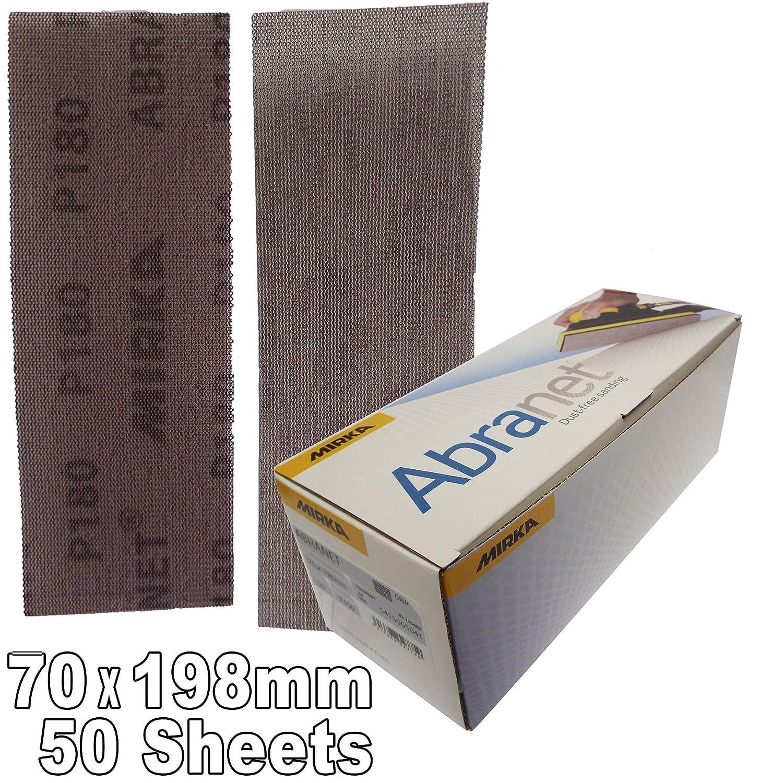 Mirka 5415005018 P180 Grit Abranet Abrasive HookNLoop HookIt Hook-it Sanding Strips Pack of 50 70mm x 198mm P180 Grit 70x198mm dust freeVery uniform scratch pattern leaving an ultra smooth finish