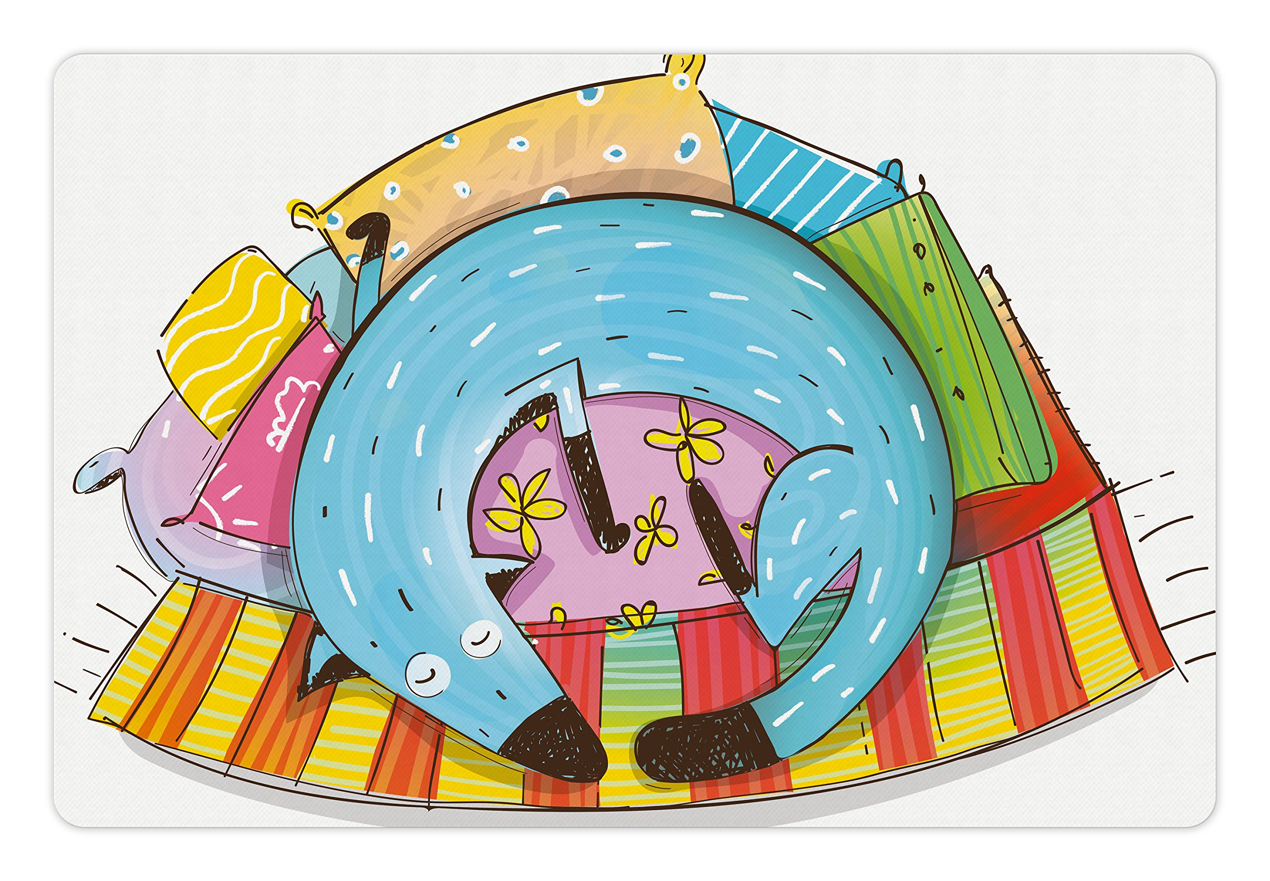 Lunarable Quirky Pet Mat for Food and Water, Cute Dog Sleeping on Colorful Pillows Funny Domestic Pet Animal Caricature Design, Rectangle Non-Slip Rubber Mat for Dogs and Cats, Multicolor by Lunarable (Image #1)