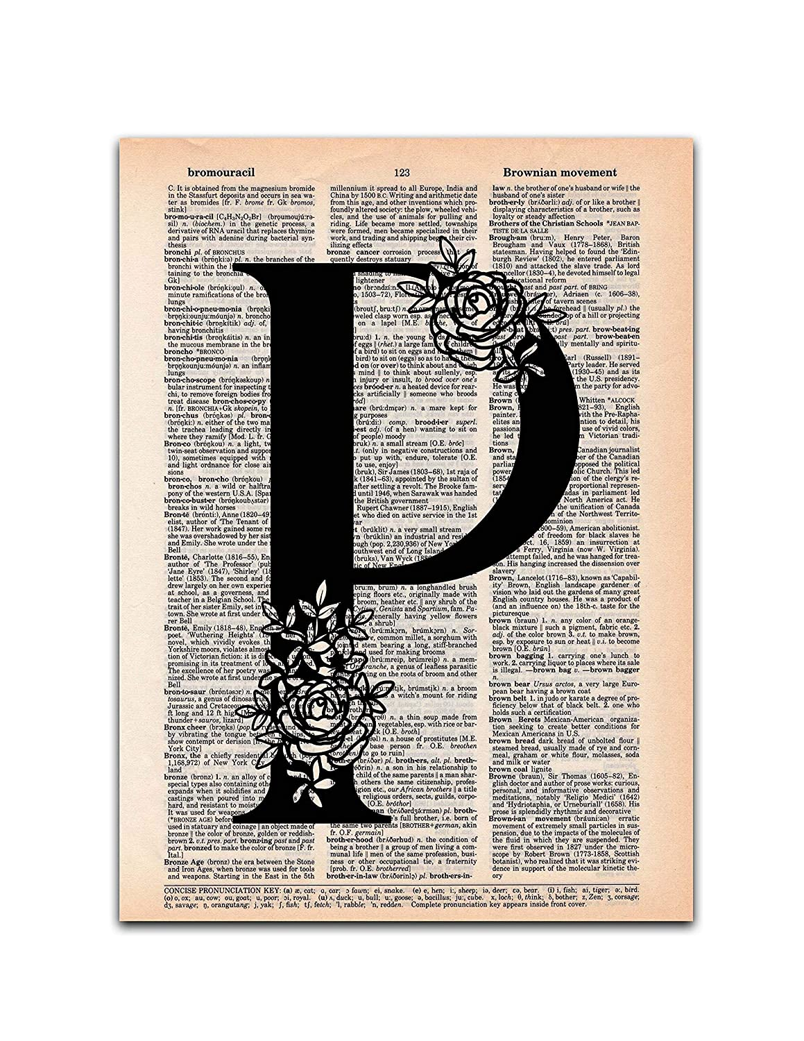 P - Monogram Wall Decor, Letter Wall Art, Dictionary Page Art Print, 8x11 UNFRAMED