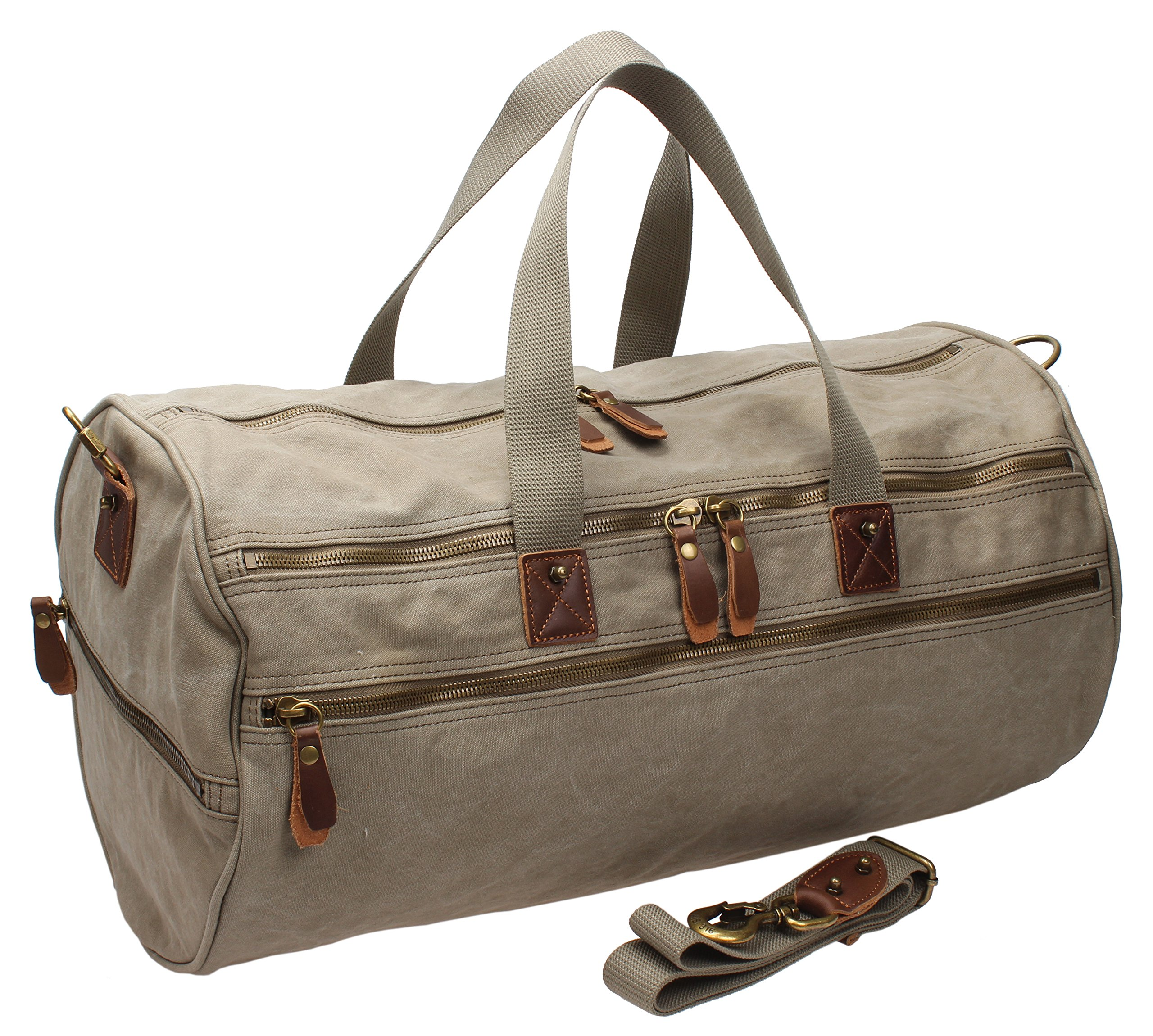 Men Canvas Weekender Overnight Bag Travel Duffle Gym Tote A740 (Army Green) by MSG (Image #2)