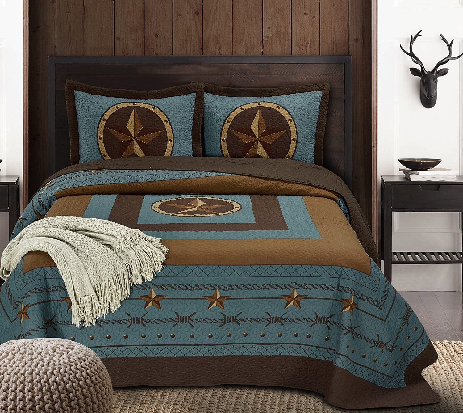Chezmoi Collection Tucson 3-Piece Western Star Cabin Lodge Design Soft-Washed Quilt Set