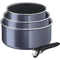 Tefal Ingenio Elegance Set, Aluminium, Inklusive Abnehmbarer Ingenio 5 Griff, Grau/Blau