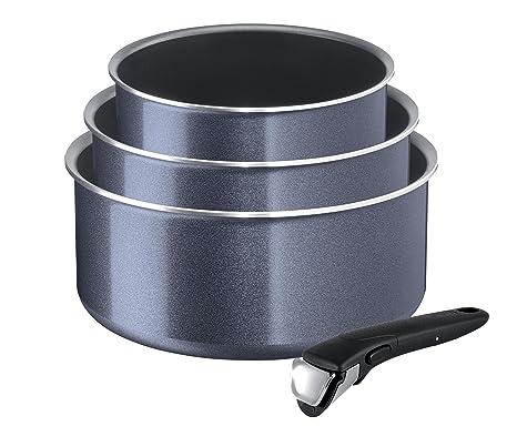Tefal l2319302 Ingenio Elegance – Juego de 3 cacerolas y 1 Mango Aluminio Negro 28.5 x