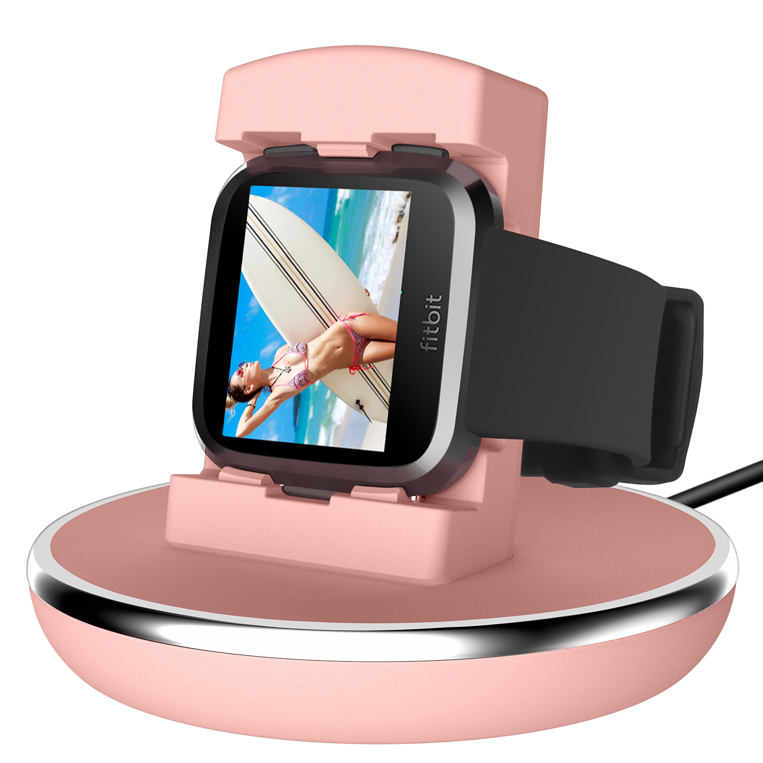 For Fitbit Versa Charger, EPULY for Fitbit Versa Accessories Women Men Charging Stand Charger Station Holder Cradle TPU Protective Hook with 3 Ft Charging USB Cable for Fitbit Versa Smartwatch Pink