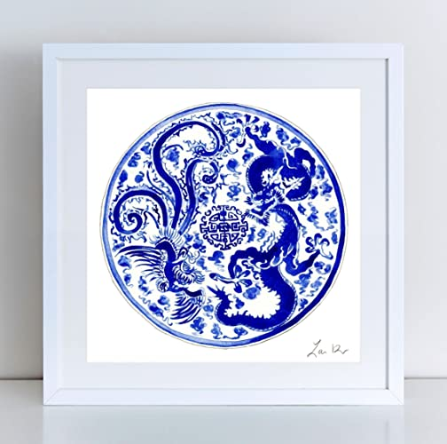 4fad47543cb Blue and White China Plate Art 3 Blue and White Ginger Jar Art Chinoiserie  Painting Hollywood Regency Decor Asian Art Chinese Wall Decor Watercolor Art  ...