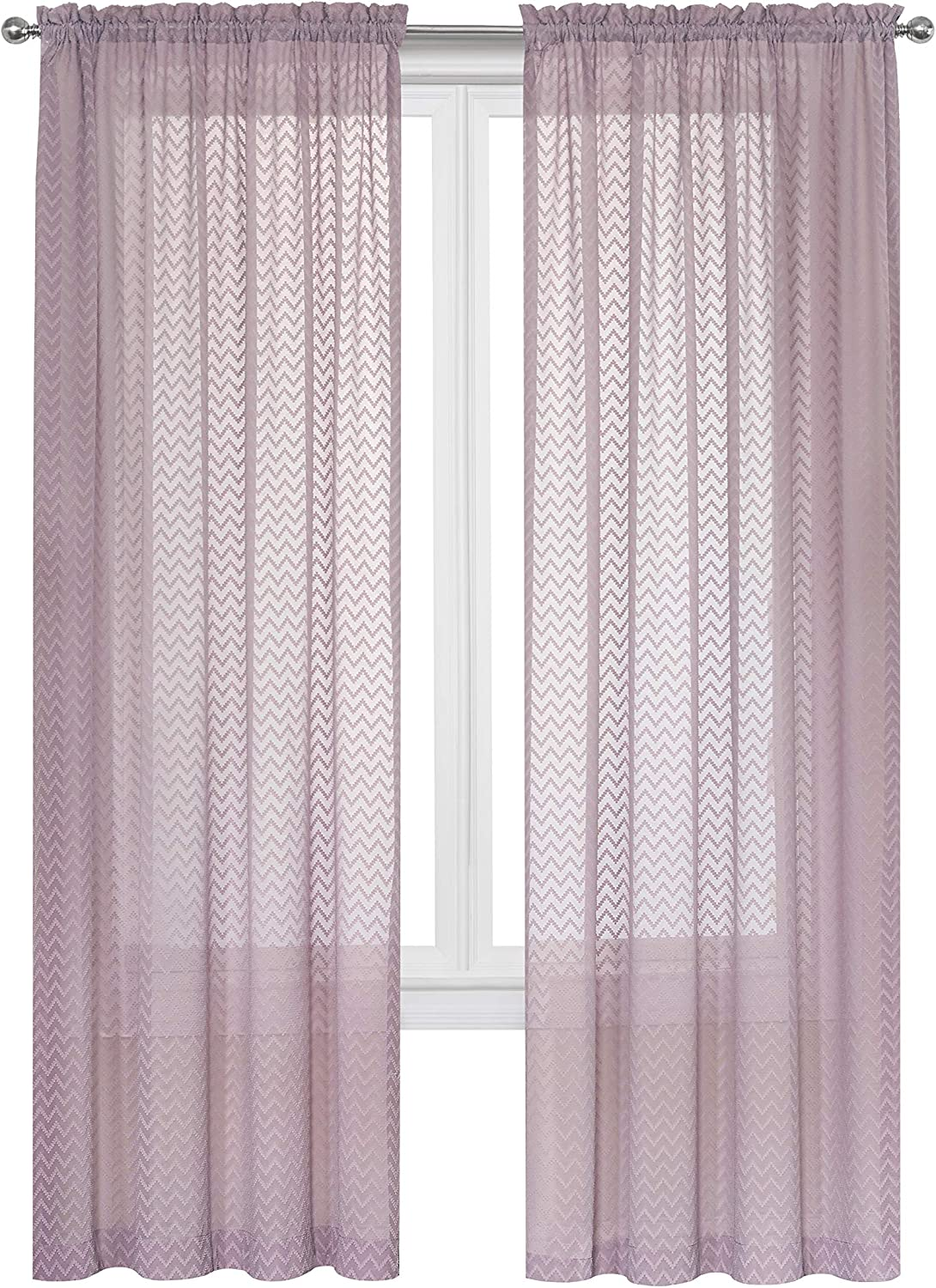 Regal Home Collections Chevron Top Selling Curtain Panel Pair, Soft Plum Set, 2