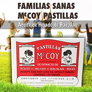 Pastillas Mccoy Vitamin Nutriceutical Tablets Cod Fish Liver Oil Extra 100 caps