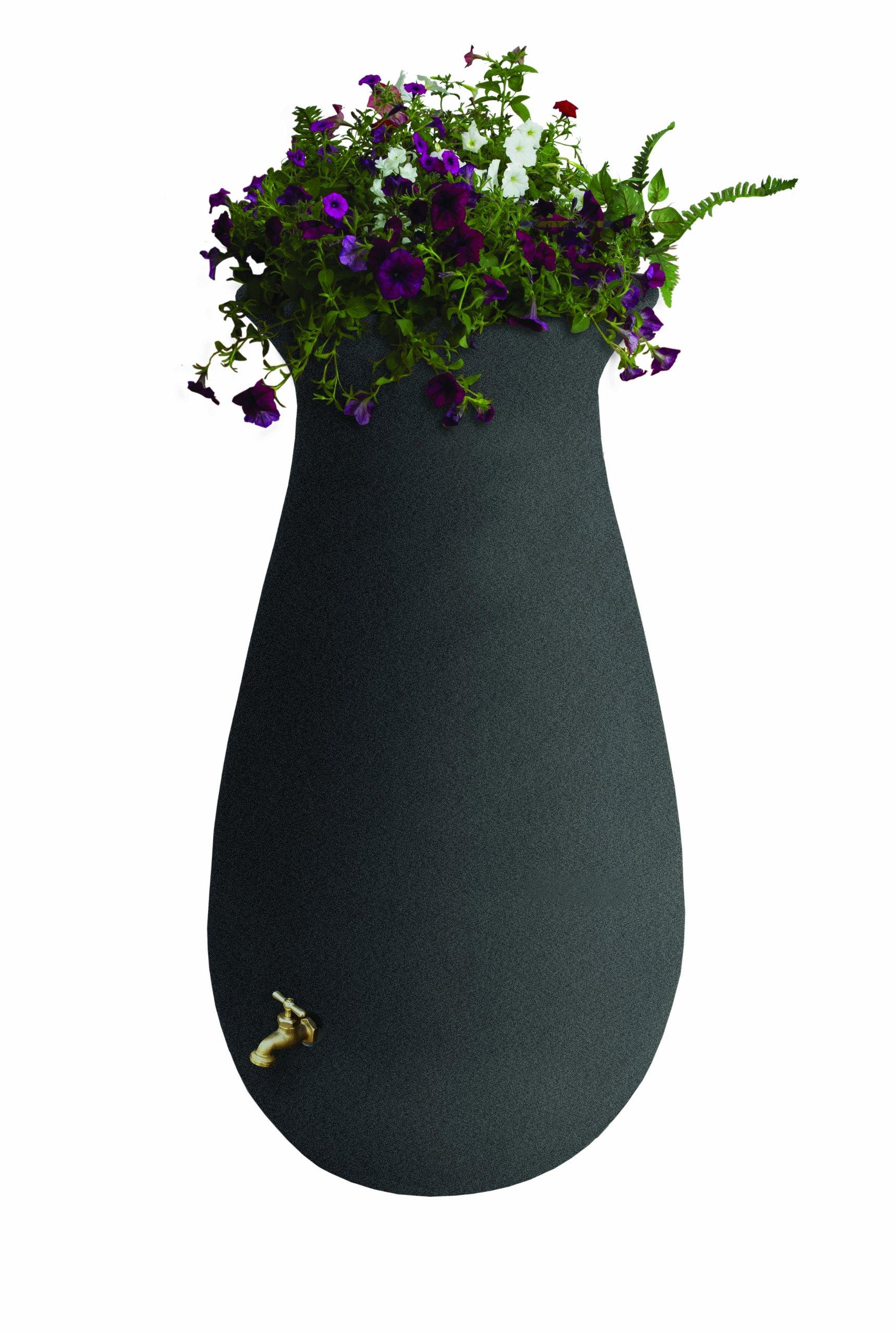 Algreen Products EcoCascata Rain Barrel 65-Gallon, Charcoalstone