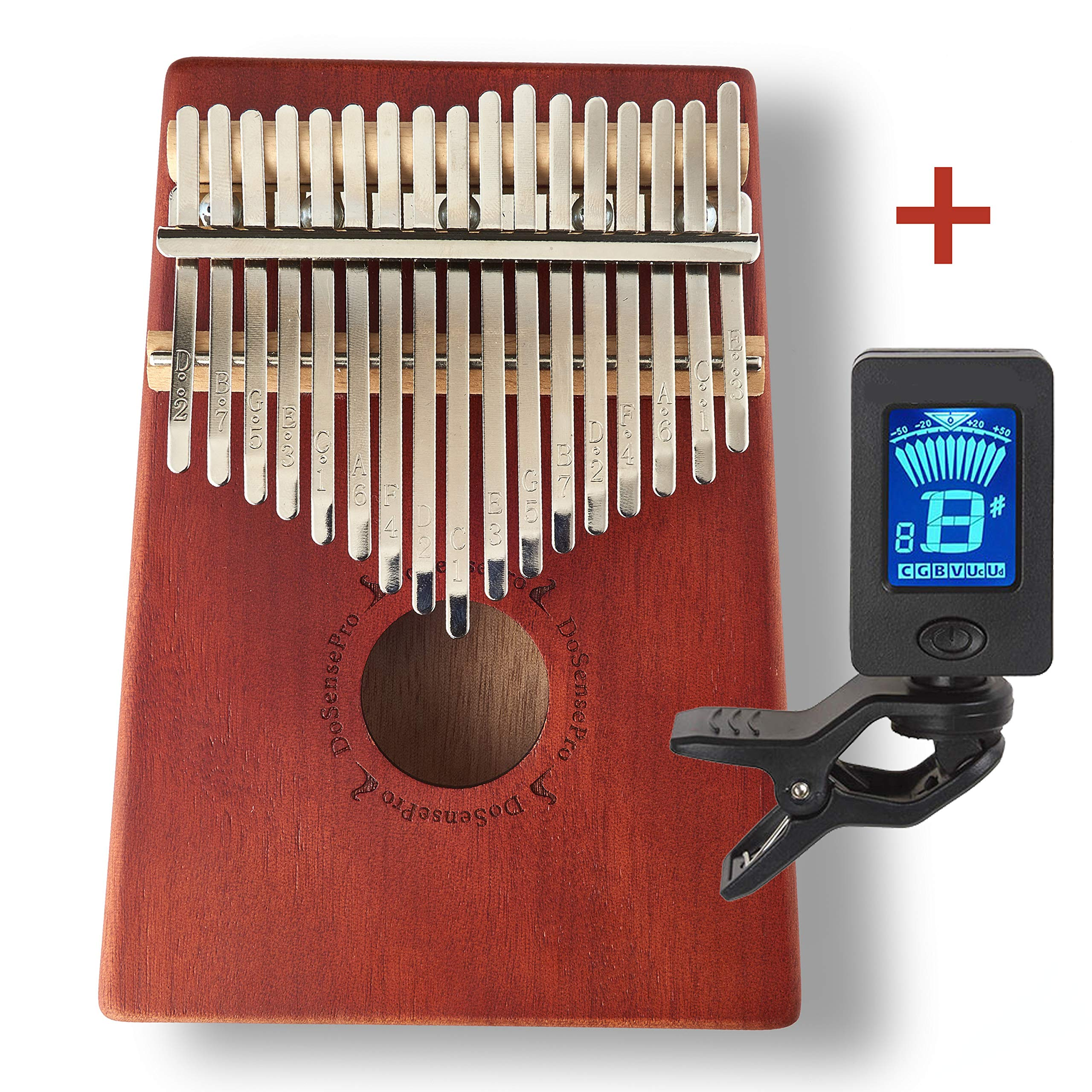 New Kalimba 17 Keys Thumb Piano + Bonus Chromatic Tuner Kit by DoSensePro. Solid Mahogany with Steel Bars Mbira Finger Piano in Tone C Includes Tuning Hammer, Storage Bag, Manual and Note Stickers by DoSensePro