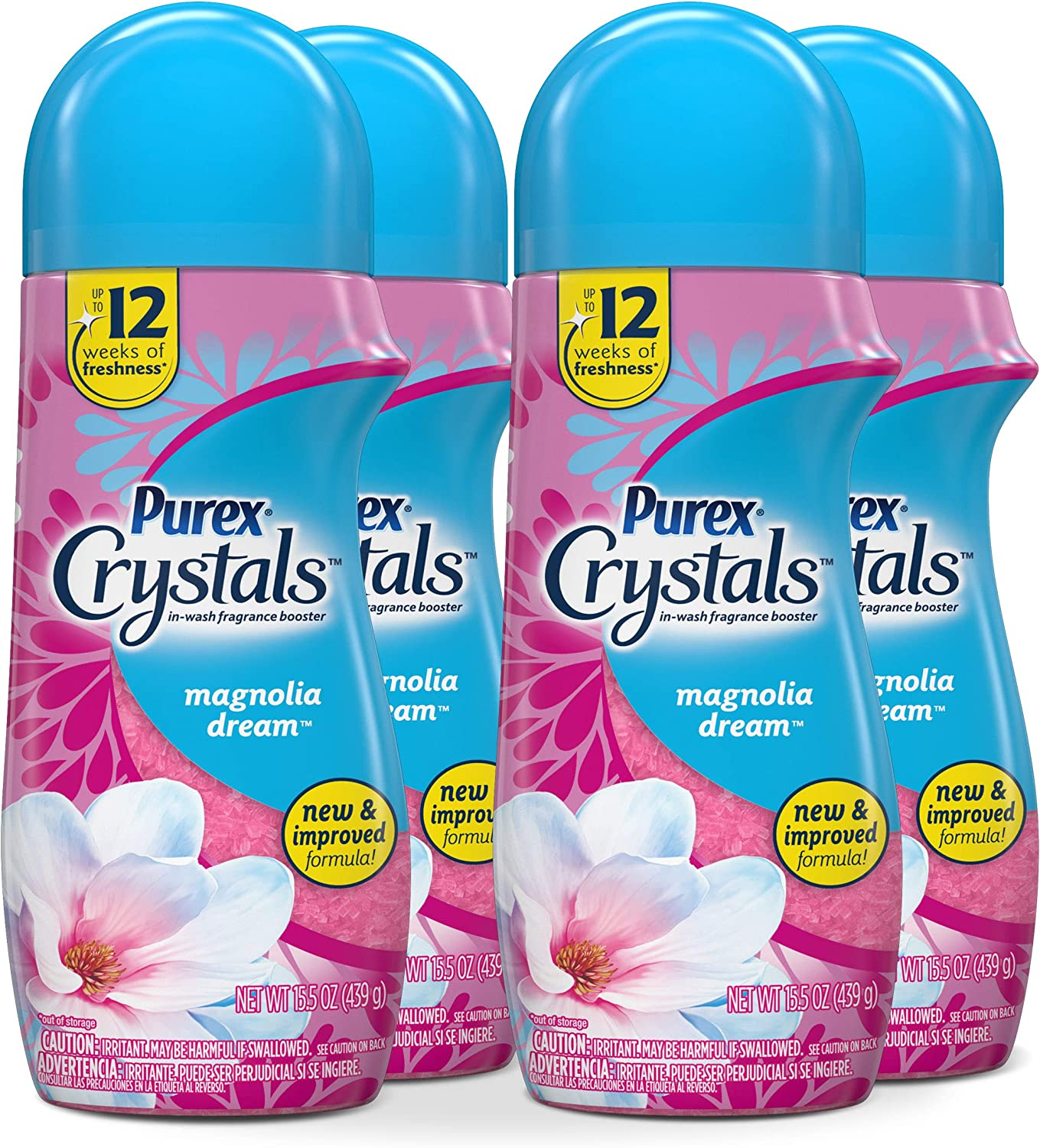 Purex Crystals in-Wash Fragrance and Scent Booster, Magnolia Dream, 15.5 Ounce, 4 Count