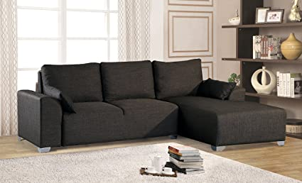 Merax Big 2 Piece Sectional Sofa With Chaise, Fabric / 5 Pillows / Metal
