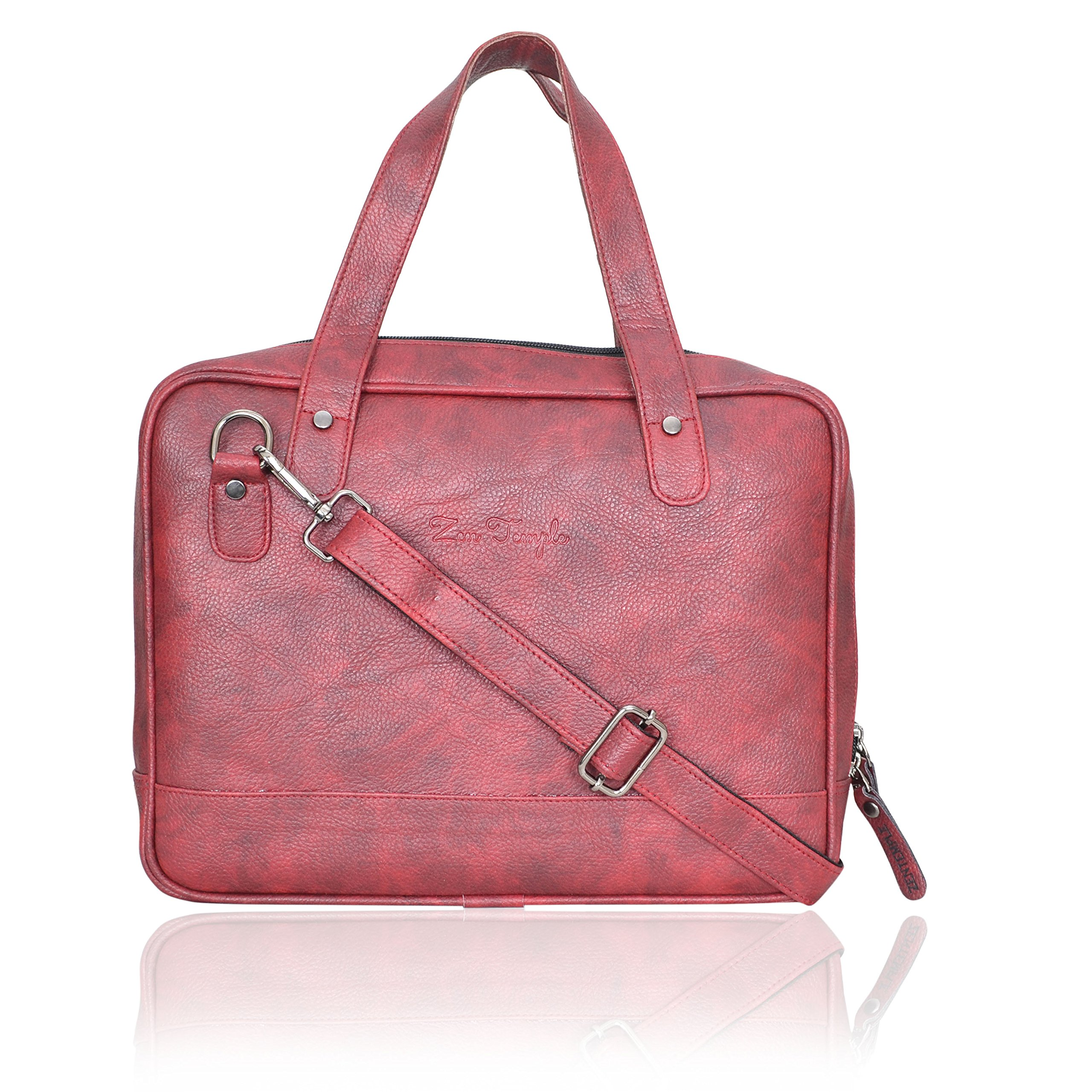 Zen Temple Handmade Briefcase Top Grain Leather Laptop Bag Messenger Shoulder Bag for Business Office 11 inch laptop