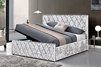 Prime Cherry Tree Furniture Hayden Crushed Velvet Side Lift Storage Ottoman Bed Frame Silver 4Ft6 Double Gmtry Best Dining Table And Chair Ideas Images Gmtryco