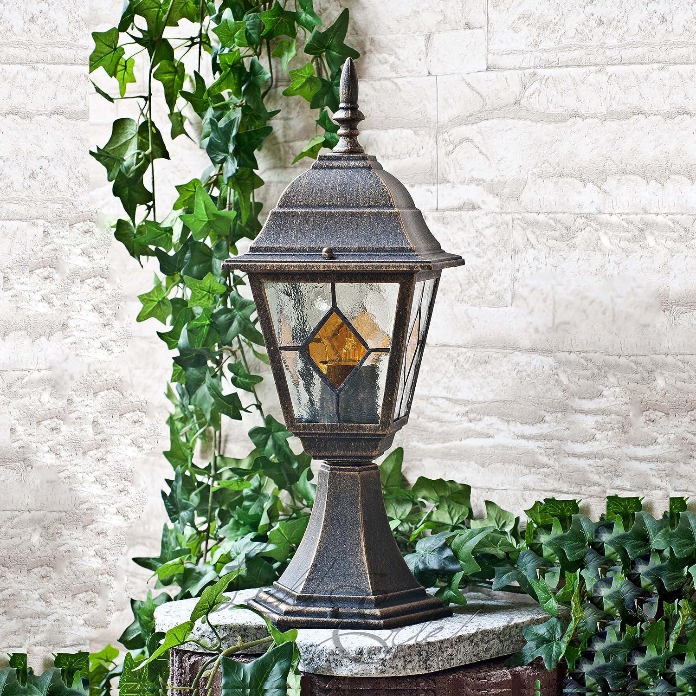 Elegante lámpara de pie para exteriores con acabado envejecido-Gold Tiffany-vidrio LE2/2/875 IP43: Amazon.es: Iluminación