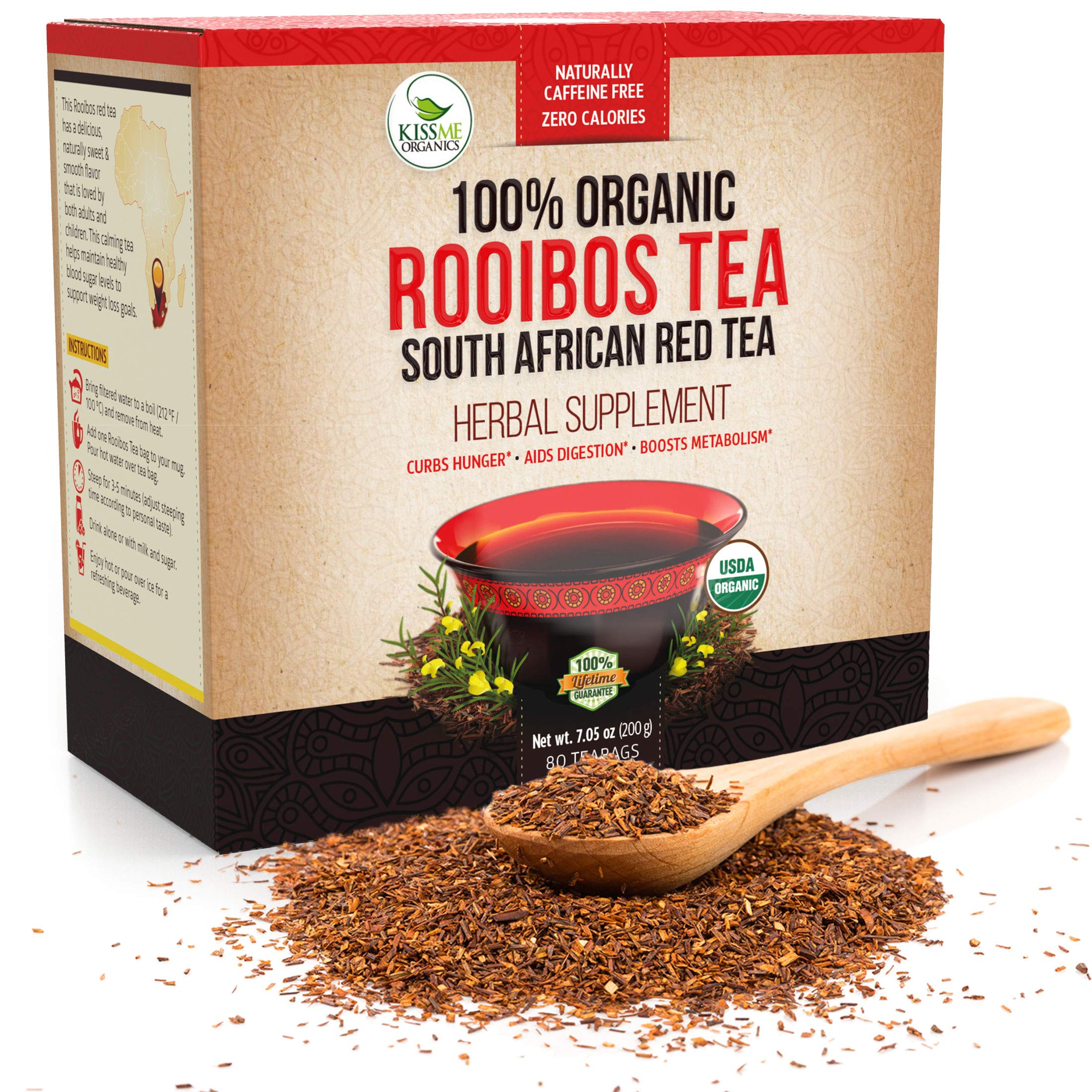 Organic Rooibos Tea Bags - Caffeine Free South African Red Tea Detox - Herbal Antioxidant Drink from Africa - Aids Digestion and Boosts Metabolism - 80 Tea Bags by Kiss Me Organics