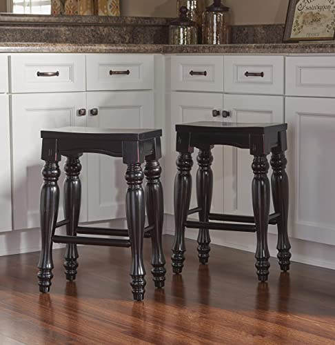 Powell Pennfield Distressed-Black Kitchen-Island Stools set of 2