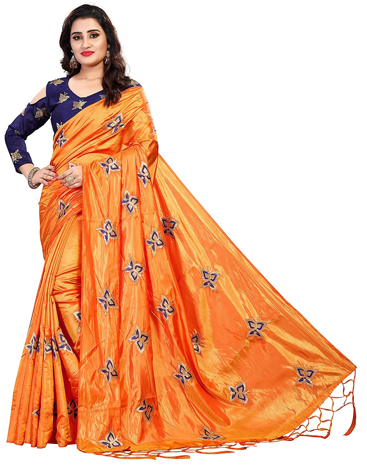 7668399b61af33 Vaidehi Fashion Paper Silk Embroidered Saree with blouse piece(Golden-ButterFly-Orange)   Amazon.in  Clothing   Accessories