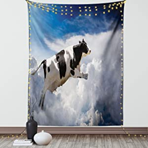 Ambesonne Rustic Tapestry, Super Cow Flying Over Clouds Fiction Imaginary Print Dairy Manufacturing Theme, Wall Hanging for Bedroom Living Room Dorm Decor, 40