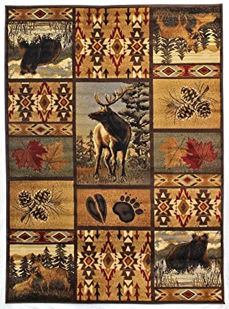 Rugs 4 Less Collection Wilderness Nature Themed Cabin Style Area Rug Design  R4L 760 (5