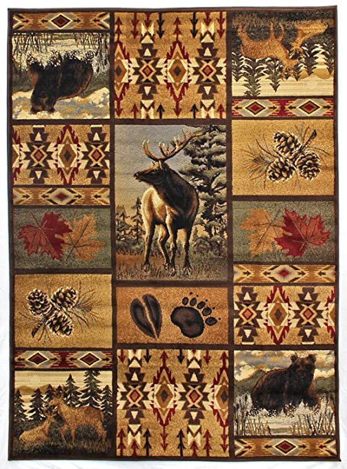 Amazon Com Rugs 4 Less Collection Wilderness Nature Themed Cabin