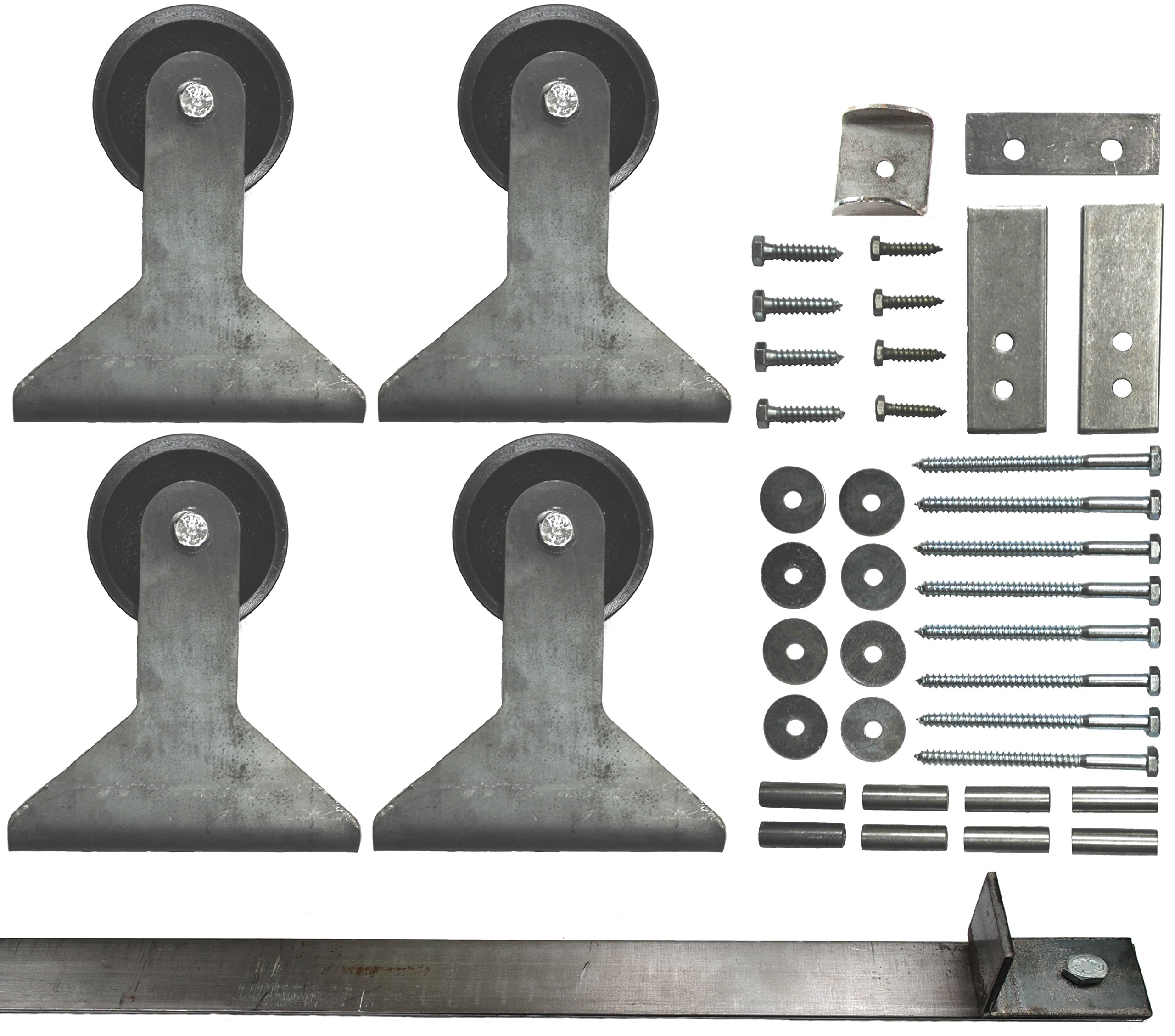 Double Sliding Barn Door Hardware Kit Top Mount Design with 8 Ft. Track Included - Made in USA by Mapp Caster