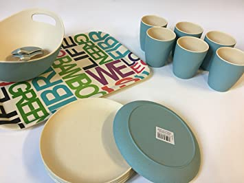 15 Teilig Bambus Geschirr Set Blau Bunt Amazon De Kuche Haushalt