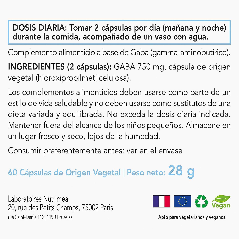 Gaba Contiene Acido Gamma Amino Butírico Relajante Natural Alivio Estres Ansiedad Insomnio Bienestar Neurotransmisor Complemento Alimenticio: Amazon.es: ...