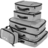 Savisto Packing Cubes, 6-Piece Best Value Suitcase Organiser, Compressible Luggage Cubes, Ideal for Holiday Baggage, Backpacking, Air Travel, Laundry & Home Storage - 6 Colour Options - Grey
