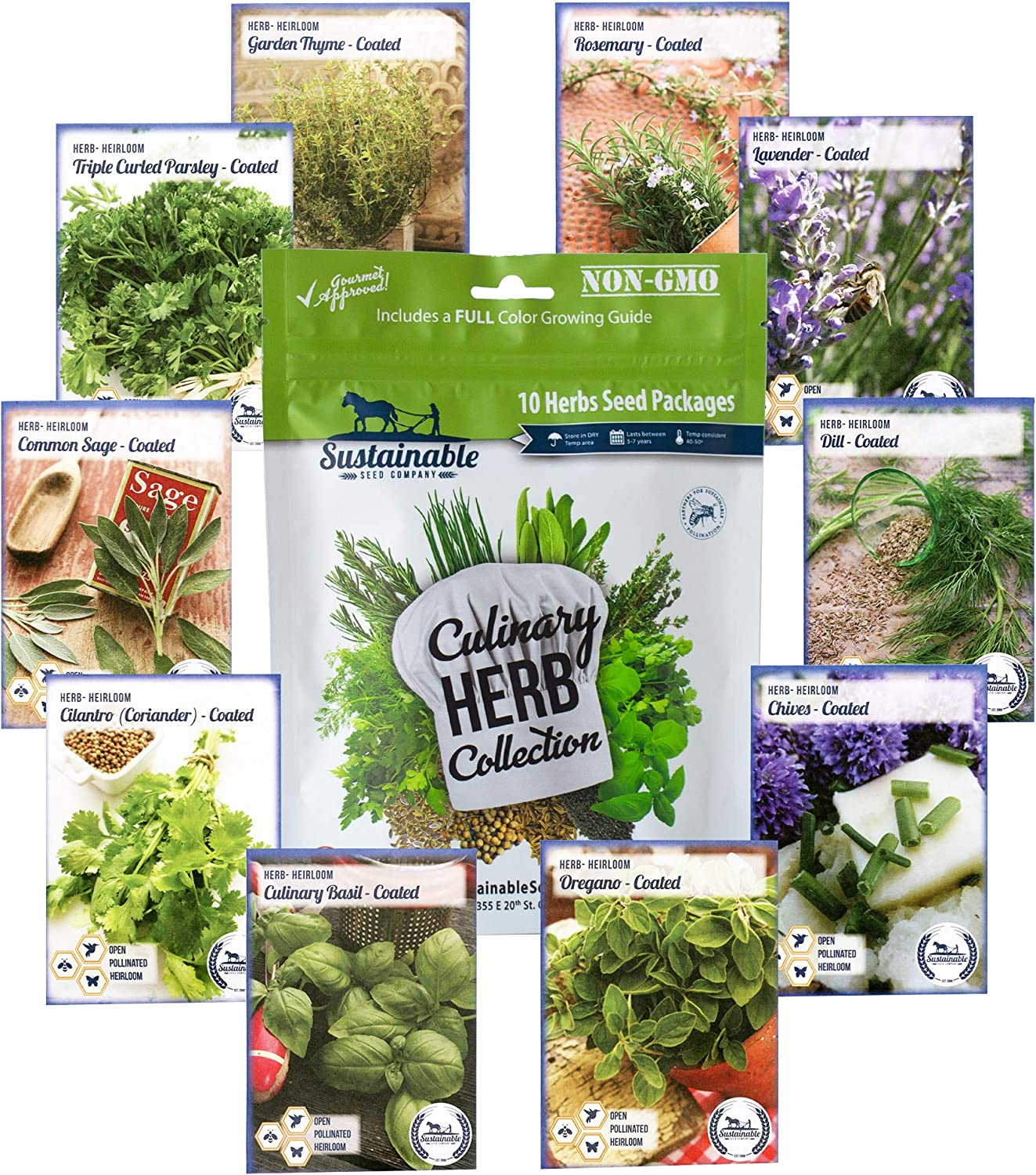 10 Variety Culinary Herb Collection und 96 Seite Growing Guide - Non Gmo Heirloom Basil, Thyme, Rosemary, Oregano, Parsley, Lavender, Sage, Cilantro, Chives, Dill