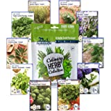 10 Variety Culinary Herb Collection and 96 Page Growing Guide - Non GMO Heirloom Basil, Thyme, Rosemary, Oregano…