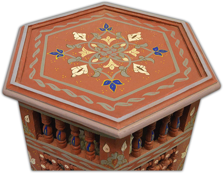 In rosso Marrakech di 45 H50 CM Dipinto a mano Mousharabiah marocchino ottagonale Tabella di caff/è