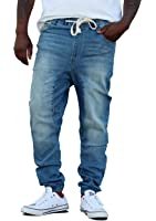 REVOL MENS TWILL DENIM DROP CROTCH JOGGER PANTS