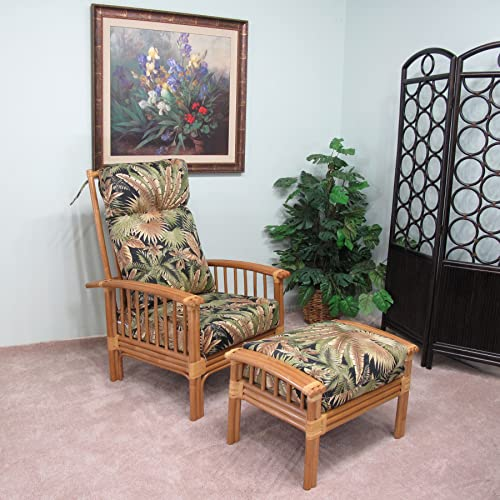 kingrattan.com Rattan Hi-Back Chair and Ottoman Cushions Made in USA